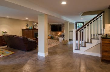 Basement Floor Concrete Resurfaced And Stained No Need