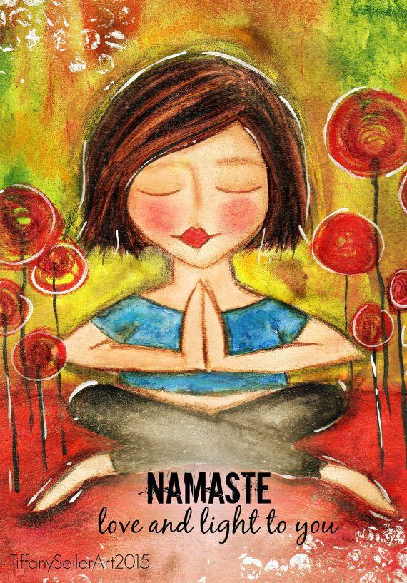 Love and Light to you NAMASTE yoga Art Card | Namaste yoga ...