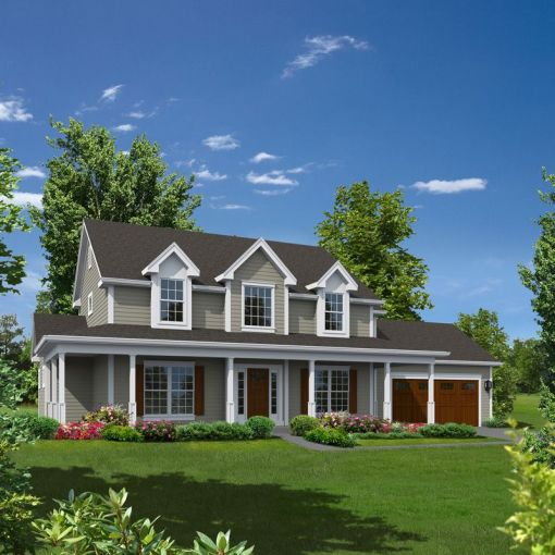 Two story  wrap around porch  and a nice way to feature a spruced up     Farmhouse Plan Front of Home