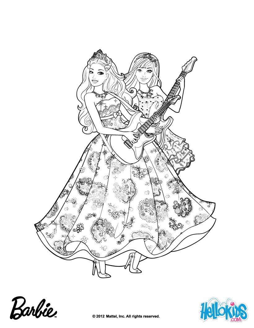 Popstars Barbie Coloring Page More Barbie The Princess The