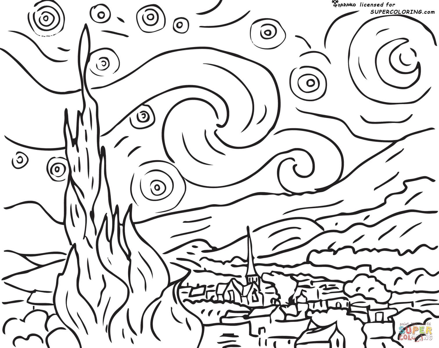 Colorings Co Van Gogh Coloring Pages Colorings
