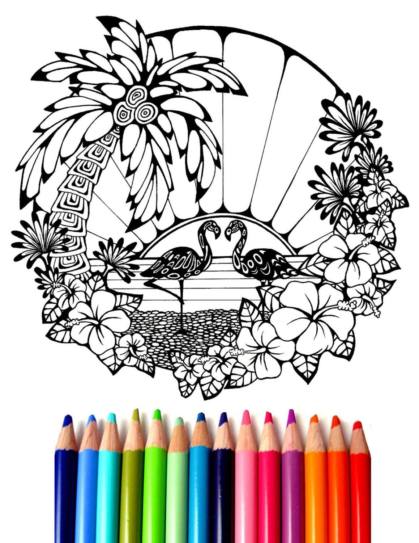 Flamingo Coloring Sheet Hand Drawn Coloring Page Ocean Coloring