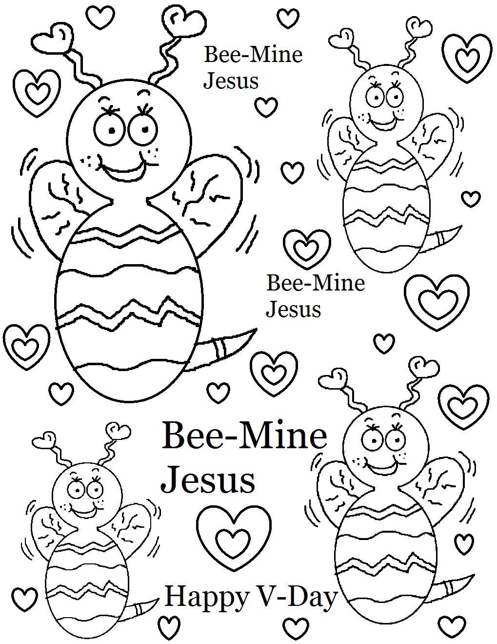 Bee Mine Jesus Coloring Page Valentine