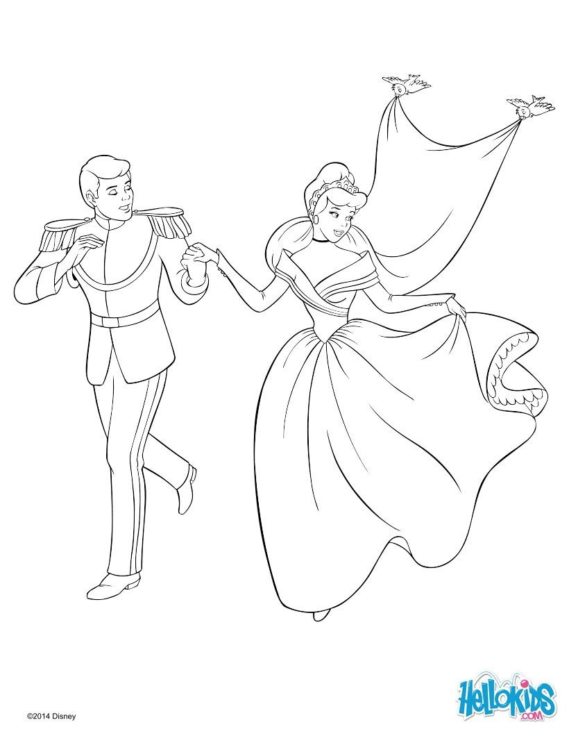 Coloring Page About Cinderella Disney Movie Drawing Of Cinderella