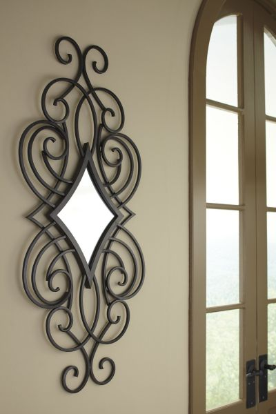 Oilbhe Wall Mirror   Thi      t k         Pinterest   Walls  Wrought iron and Iron Adding simple elegance to your home is easy with this matte black finished metal  mirror  The diamond shaped scroll design dresses up any wall in a snap