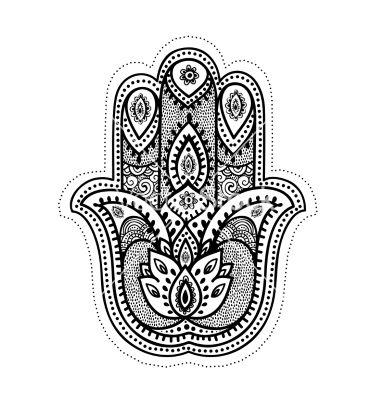 Set of ornamental indian symbols vector. Hamsa hand by ...
