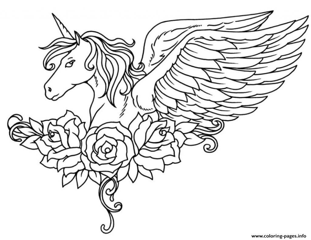 Print Ornate Winged Unicorn Flowers Coloring Pages Coloring