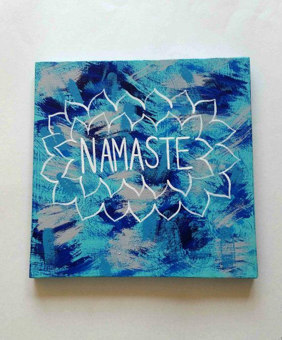Bohemian Namaste acrylic canvas painting for bedroom, dorm ...