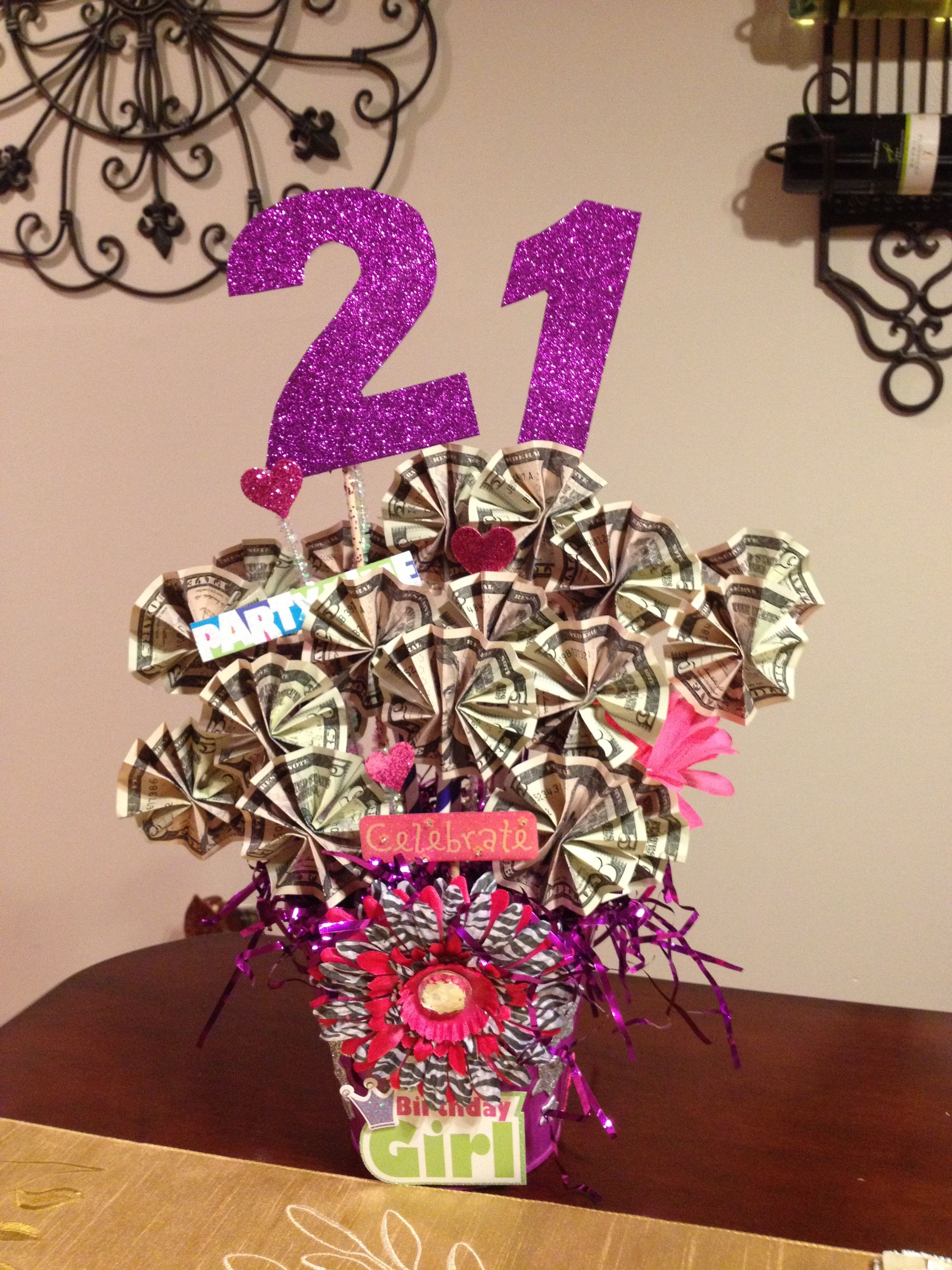 21st Birthday Money Basket Great Gift Idea Money Tree