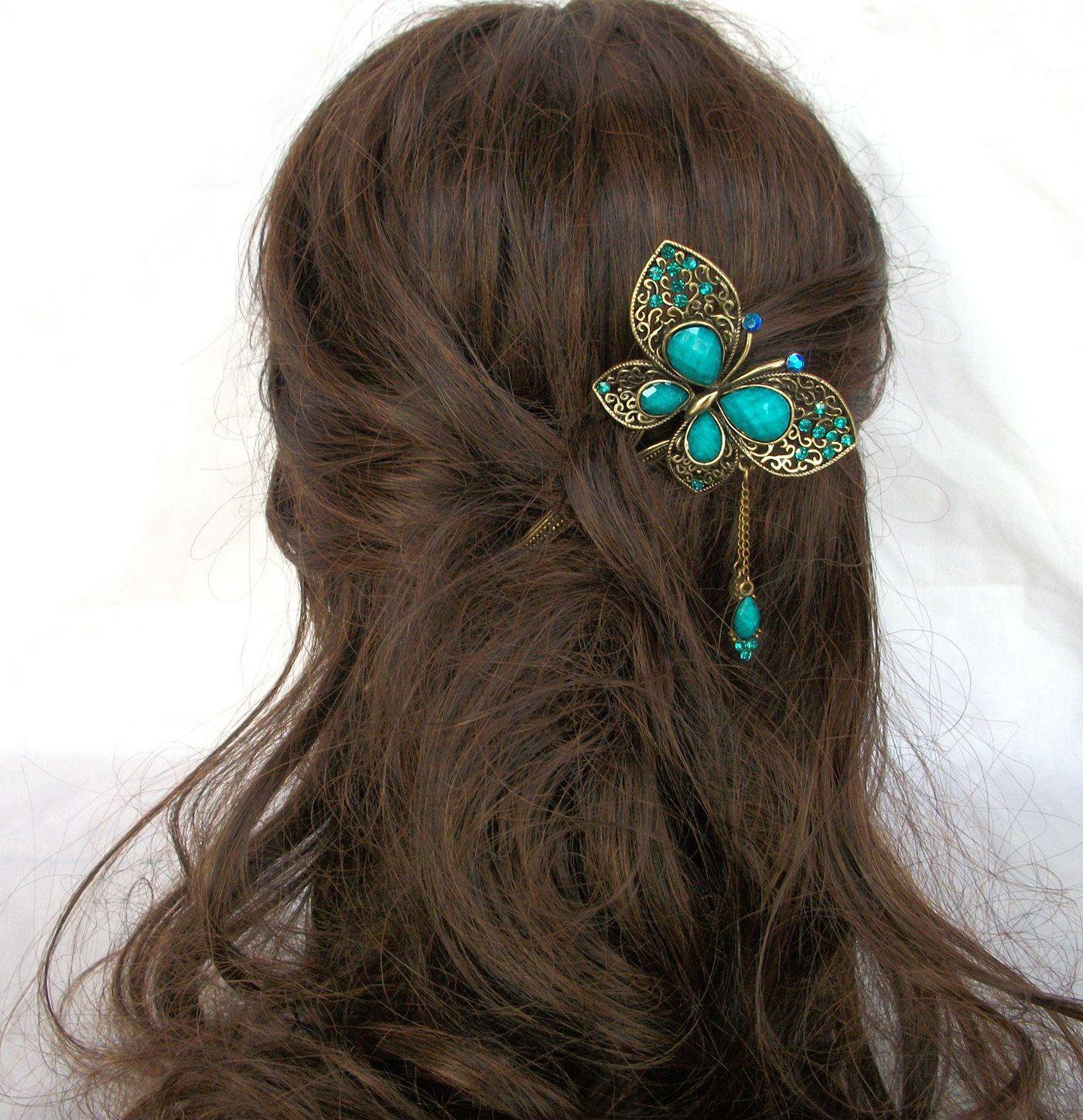 Wood Hairstick, Paua Shell Hair stick, Single Prong Golden ...