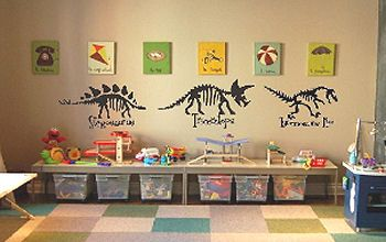 Custom Dinosaur Canvas Wall Art And Decals In A Kids