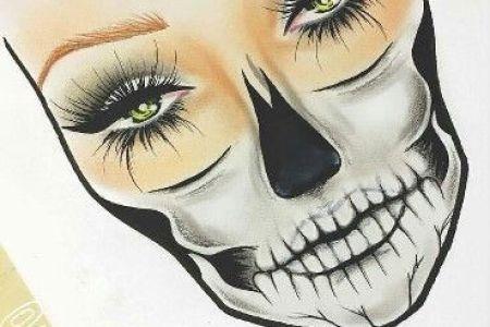 creepy skull vector cartoon drawing art of scary cartoon creepy skull vector cartoon artist leslie heidner female half face skeleton skull face painting