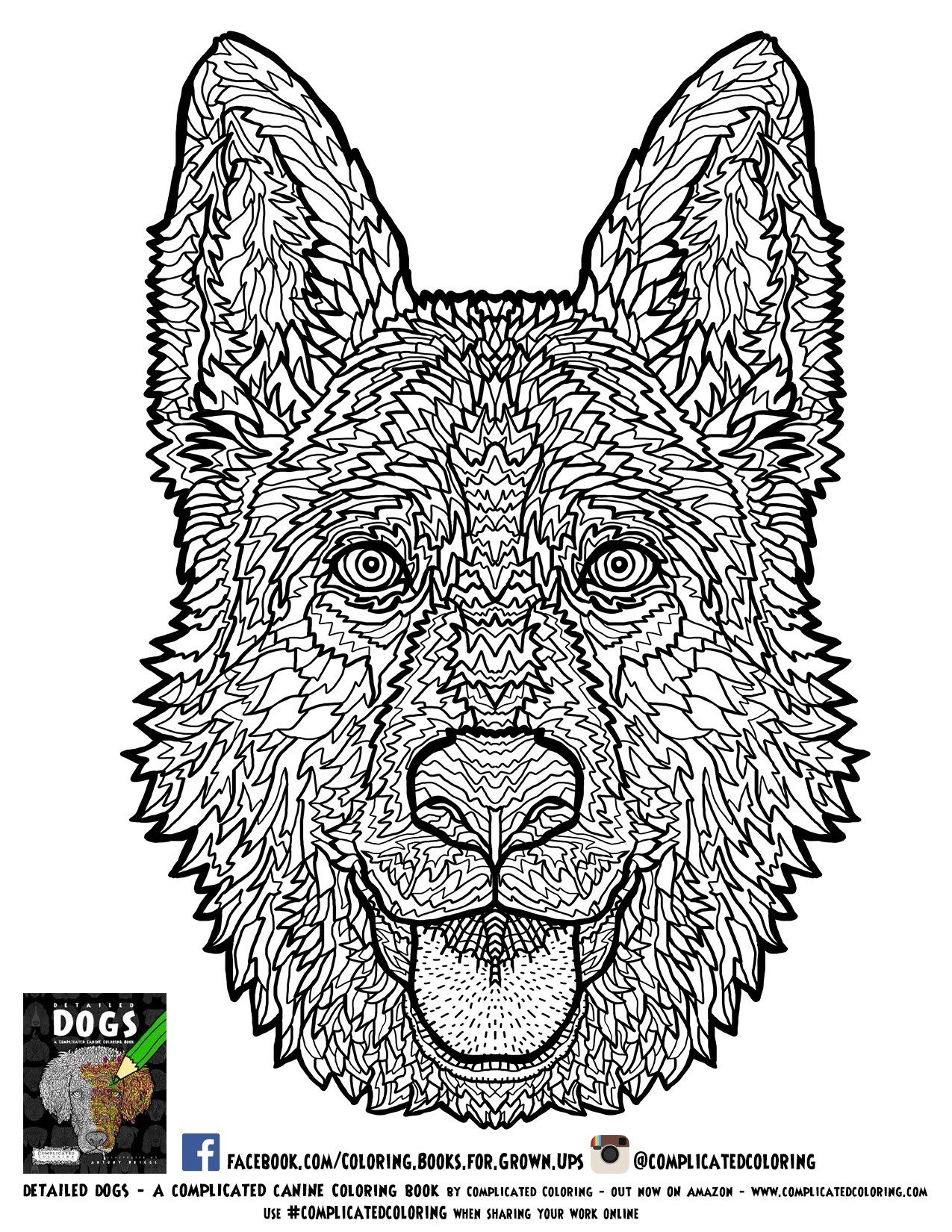 German Shephard Adult Coloring Page Plicated Coloring