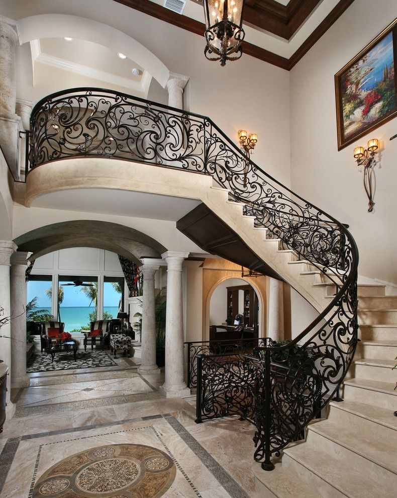 Wrought Iron Stair Railing Staircase Mediterranean With   Metal Staircases And Balconies