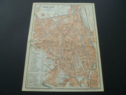 Antique map of Ghent 1905 over 110 years old city plan Gent Gand     Antique map of Ghent 1905 over 110 years old city plan Gent Gand Gante  Belgium Stadtplan de ville plano de planta plattegrond 16x21c 6x8