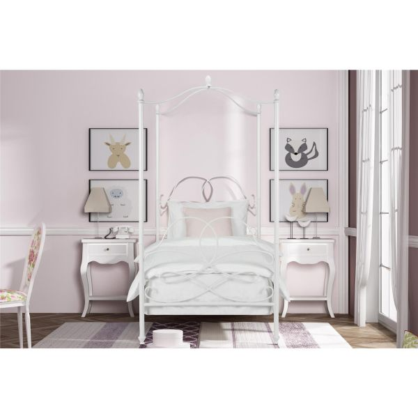 Avenue Greene DHP Fancy White Metal Canopy Twin Bed  Twin canopy bed     Avenue Greene DHP Fancy White Metal Canopy Twin Bed  Twin canopy bed  white