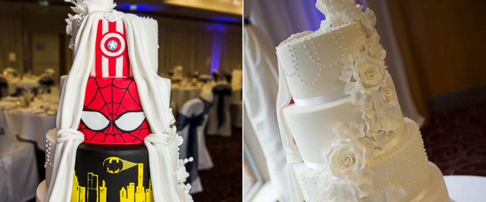 Double Take  Superhero Wedding Cake Is One of a Kind   ABC News PHOTO  Newlyweds Kia Parsons and Billy Bunning had a  double take cake