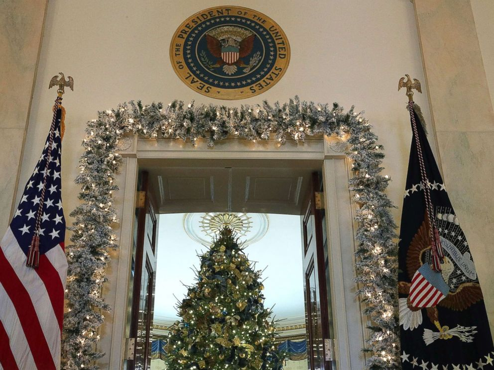 White House reveals 2017 Christmas decorations   ABC News PHOTO  The official White House Christmas tree stands in the Blue Room at  the White