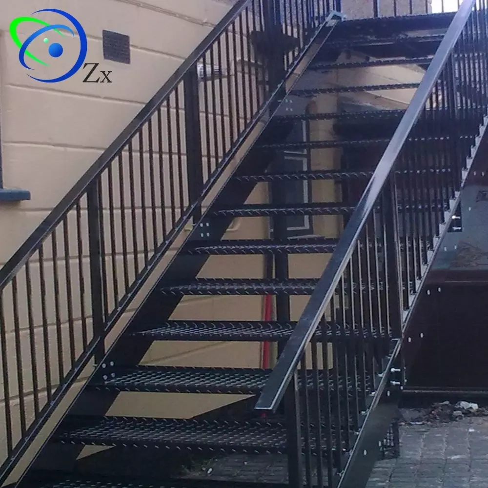 Outdoor Metal Fire Escape Staircase Exterior Prefab Mild Steel | Metal Fire Escape Stairs For Sale | Low Poly | Stair Treads | Building | Wrought Iron | Bim Cad