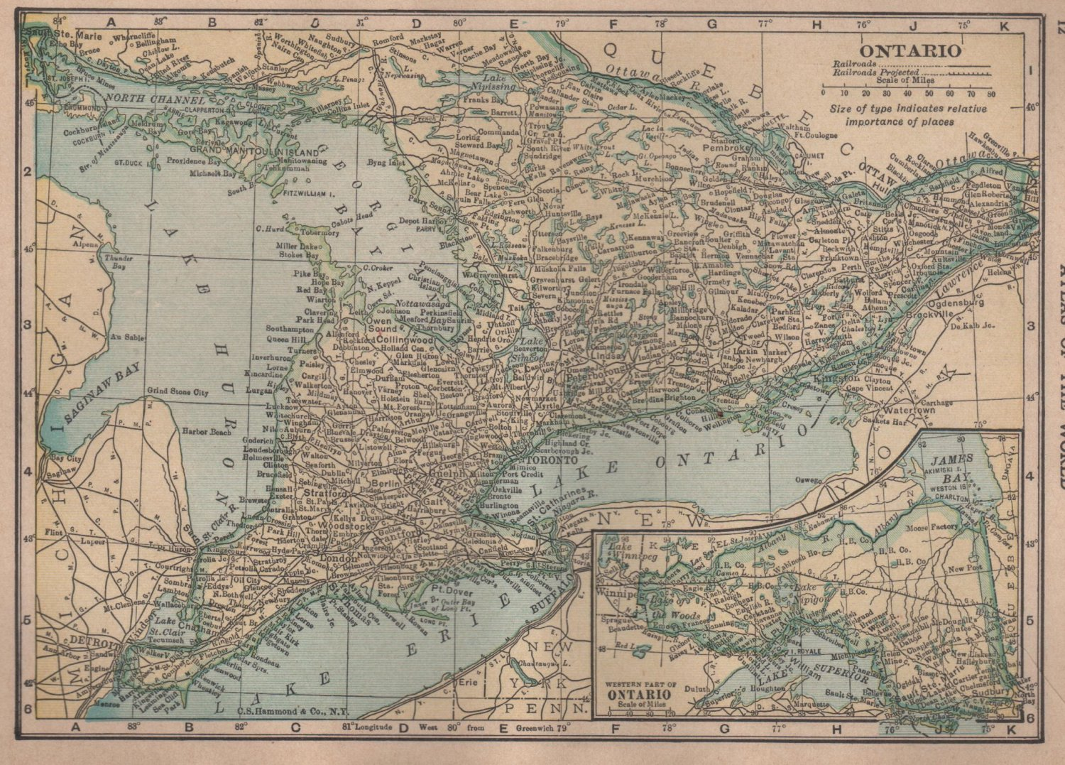 Map of Ontario Canada  C S  Hammond Atlas c 1910