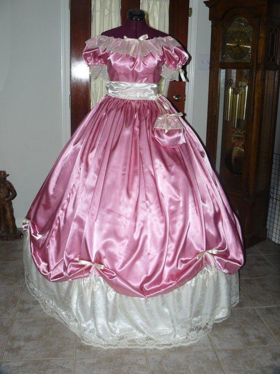 Civil War Ball Gown Reenacting Dickens Victorian Dress Custom Colors Lace Underskirt