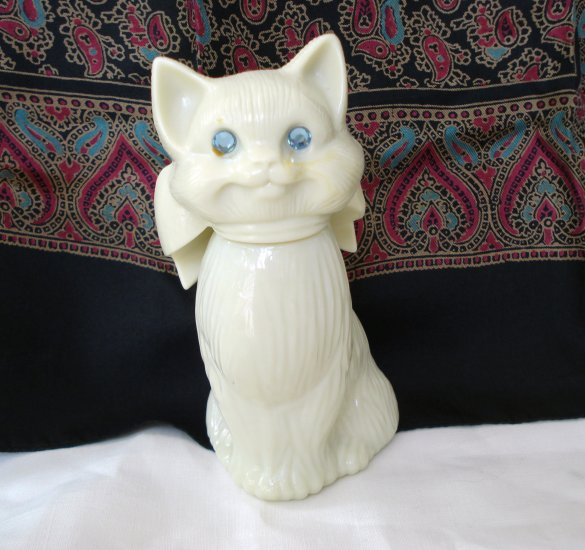 Avon Cat Bottle Empty Blue Rhinestone Eyes Sweet Honesty