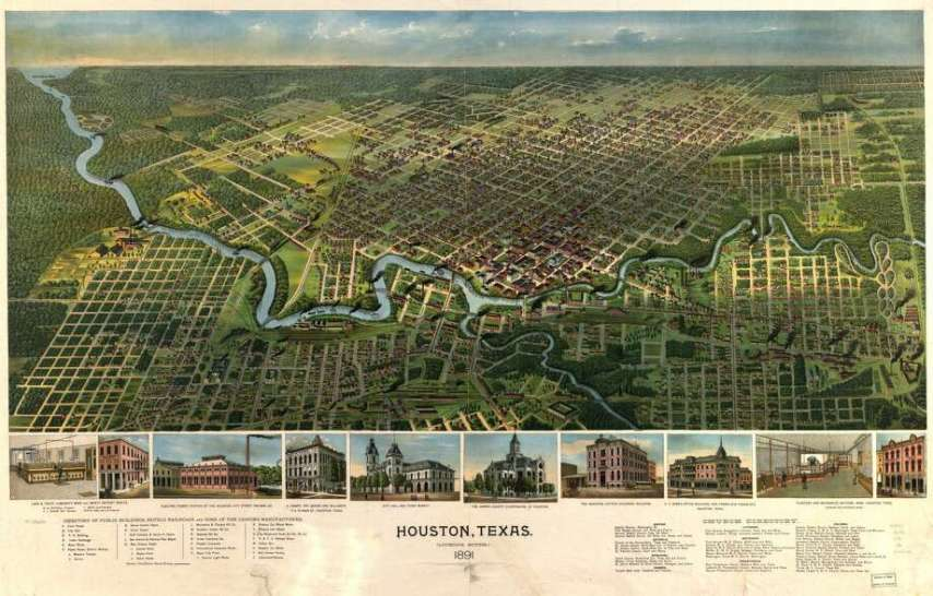 Panoramic maps of Texas cities in the 1800s early 1900s   Houston     Birds eye view of TexasThe Library of Congress has partnered with the  Digital Public Library