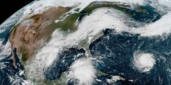 HD Decor Images » Satellite images show hurricanes lined up in Atlantic Ocean     PHOTOS  Wild Texas weather This enhanced satellite image provided by NOAA  shows Hurricane Florence