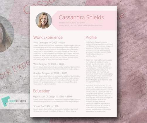 40 Best 2018 s Creative Resume CV Templates   Printable DOC Here s a free resume template by Freesumes  Designed in the pink tone  it  will make your CV look elegant  eye friendly  and professional at the same  time