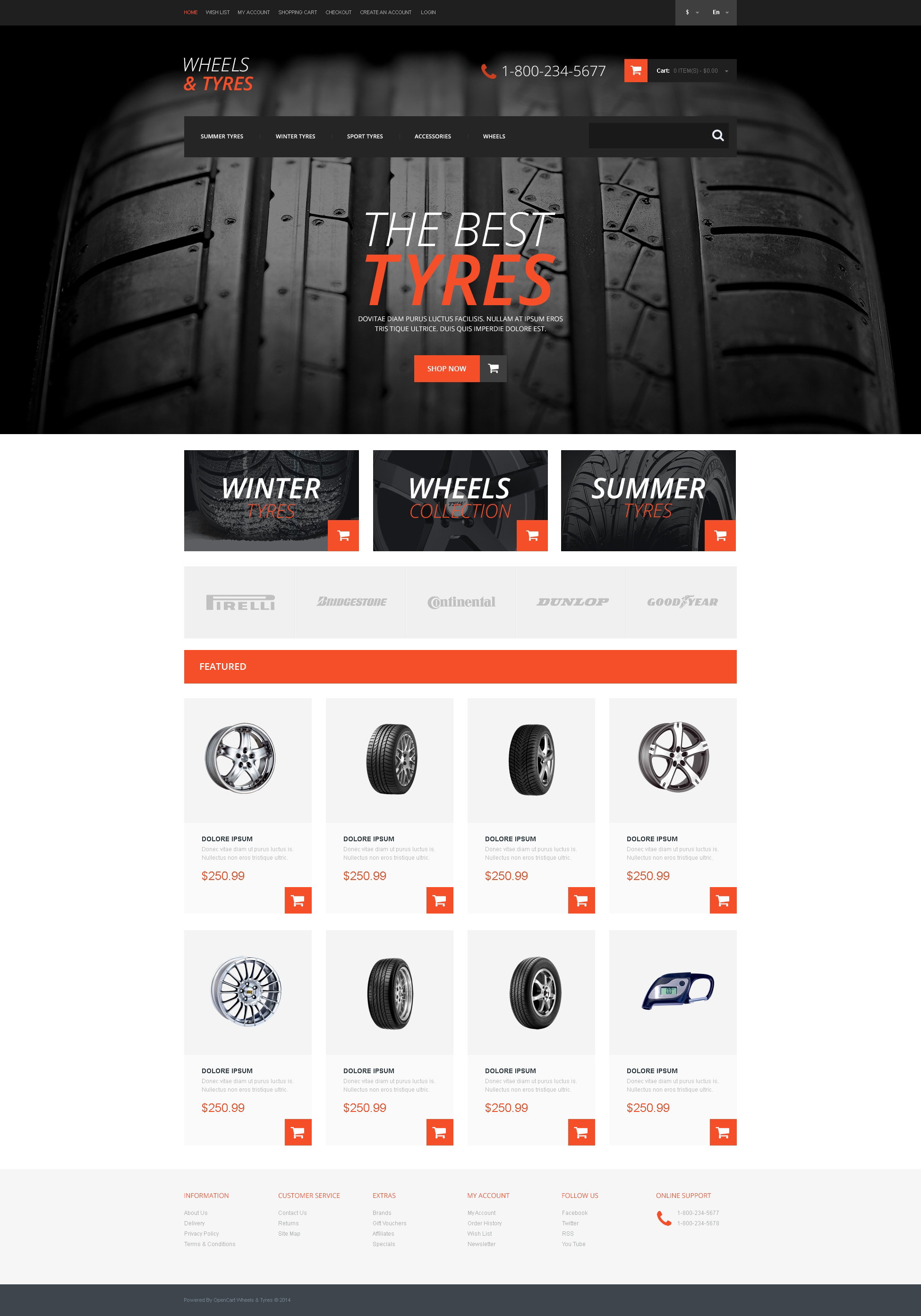 Wheels Amp Tires Responsive Opencart Template 50759