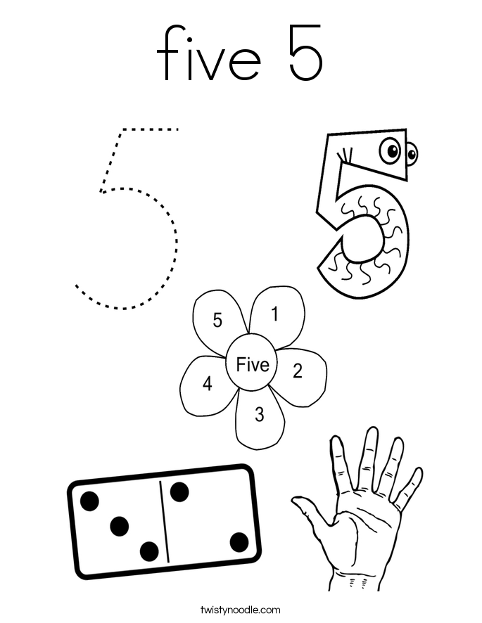Number 5 Coloring Sheet