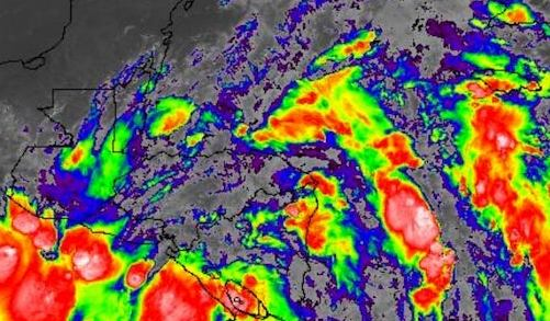 HD Decor Images » Tropical Storm Nate May Hit Mexico and U S  Gulf Coast as a     Above  Infrared GOES 16 image of Tropical Storm Nate  located offshore just  east of Nicaragua  and the huge swath of showers and thunderstorms in both  the