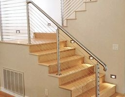 Stair Railing Ideas | Modern Cable Stair Railing | Entry Foyer | Staircase Remodel | Stair Treads | Glass Railing | Deck Railing