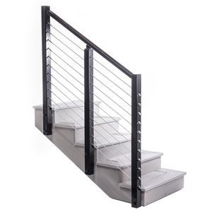 Stair Rail For Post To Post Deck Railing On An Angle | Metal Wire Stair Railing | Handrail | Contemporary | Balcony | Steel Structure | Indoor