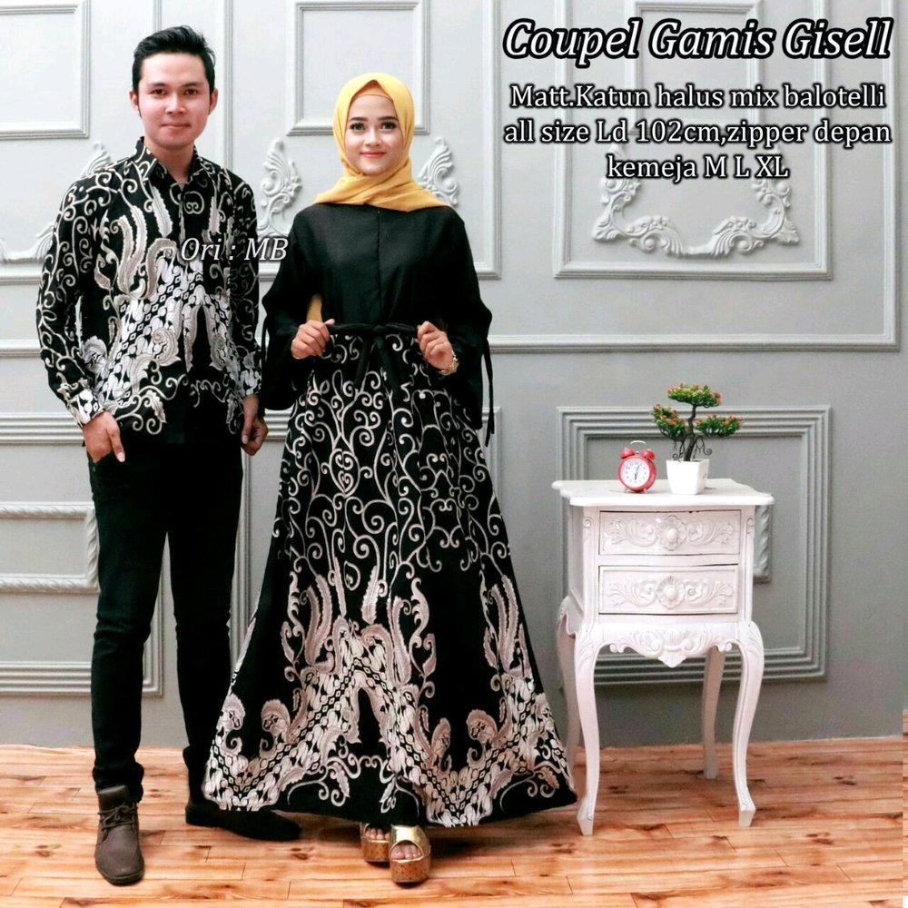 Model Gamis Batik Pesta Couple 2