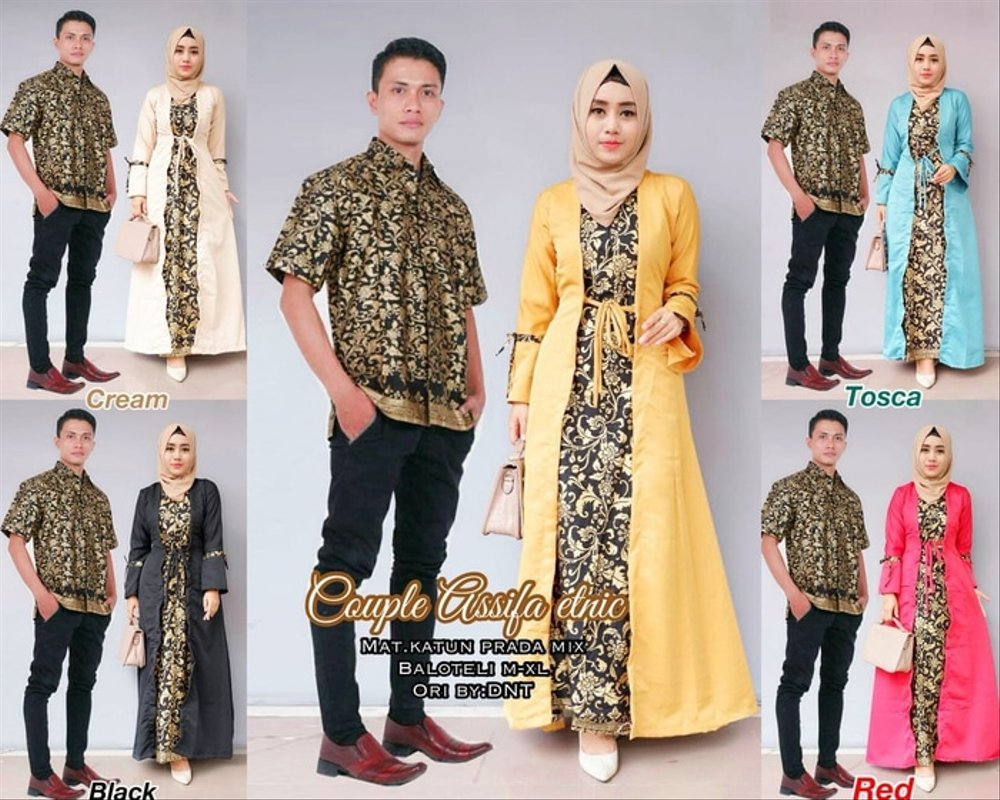 Model Gamis Batik Pesta Couple 12