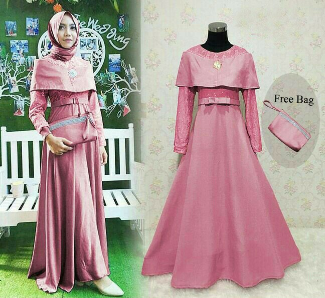 Image Result For Model Gamis Pesta Brokat Kombinasi Polos Terbaru