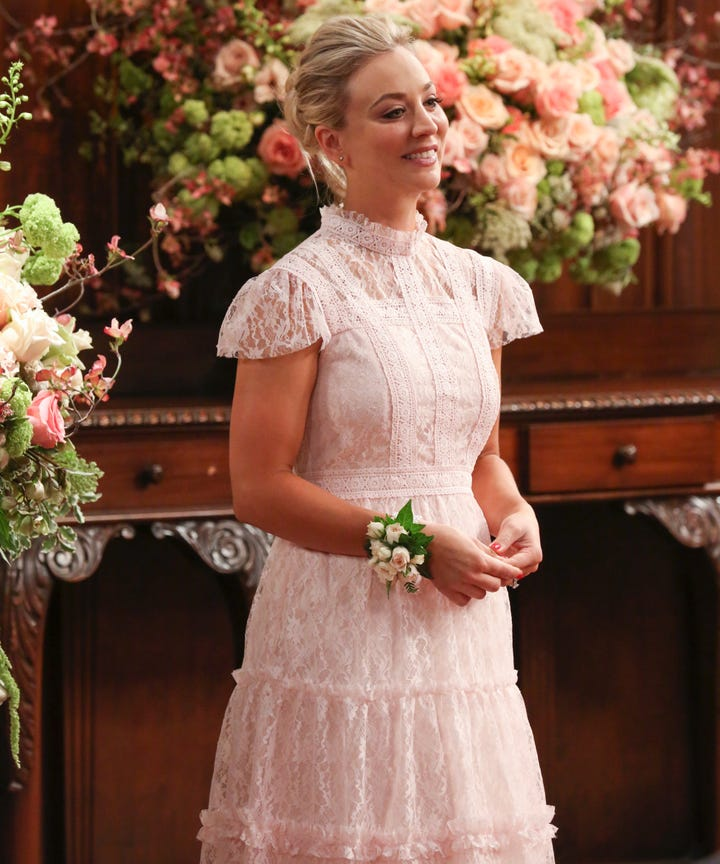 Kaley Cuoco Is Married In A Lace Wedding Dress  Photos Kaley Cuoco Is Married   Her Reception Outfit Stole The Show