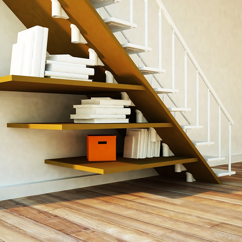 Under Stairs Storage Design Ideas For Small Spaces Design Cafe   Best Staircase Design For Small Space   Traditional   Mezzanine   Stairway   Cabinet   Outdoor