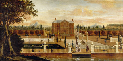 A Painting Of A 17th Century Formal Garden With Fountains