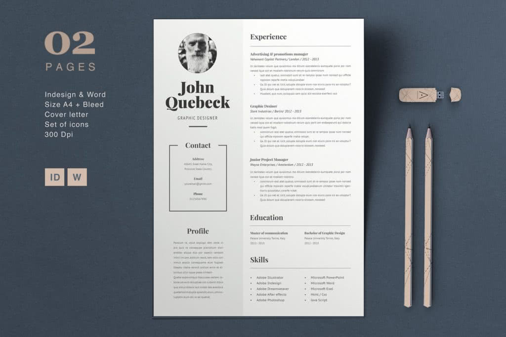 65 Fresh InDesign templates and where to find more   Redokun Bold Resume Template Preview