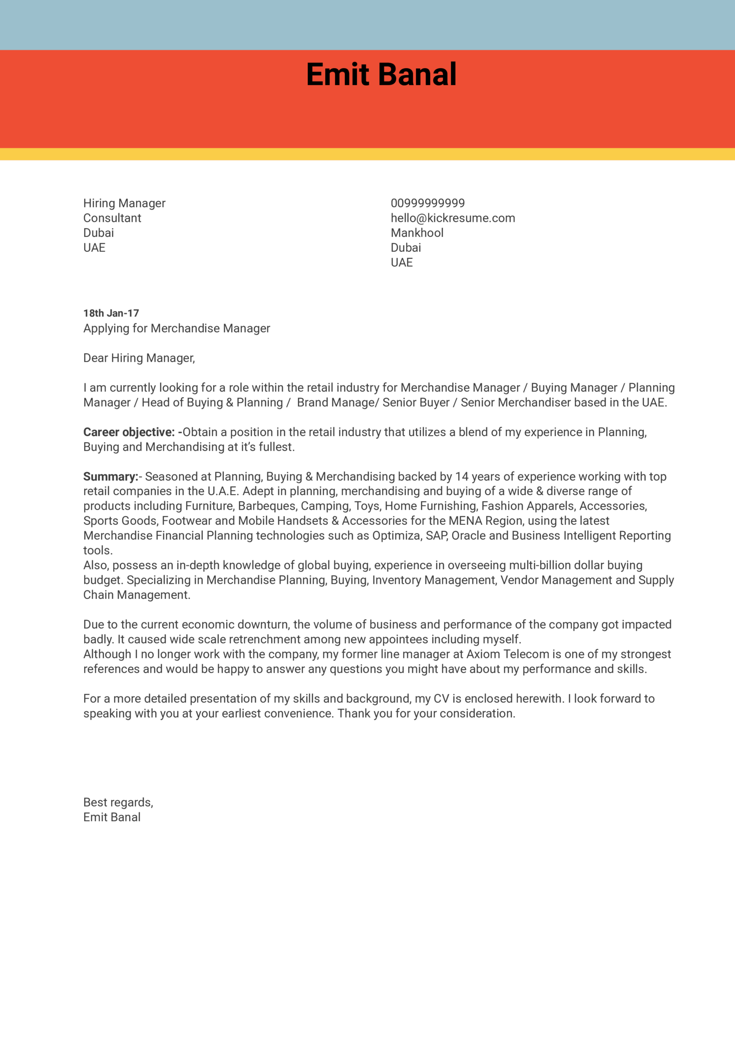 Administration Business Reference Letter