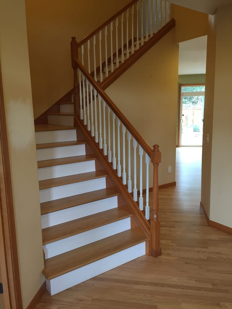 One Way Flooring Flooring Everett Wa United States Phone | Oak Stairs With White Risers | Natural | Red Oak | Character | Hardwood | Dark Walnut Staircase