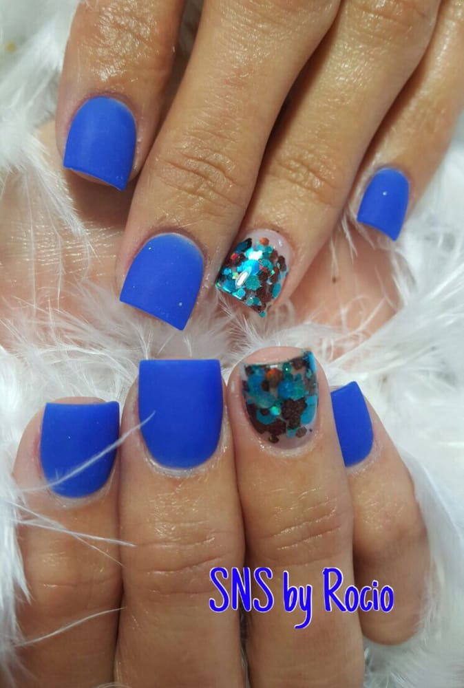 SNS nails (dipping powder) in matte color by Rocio ! - Yelp