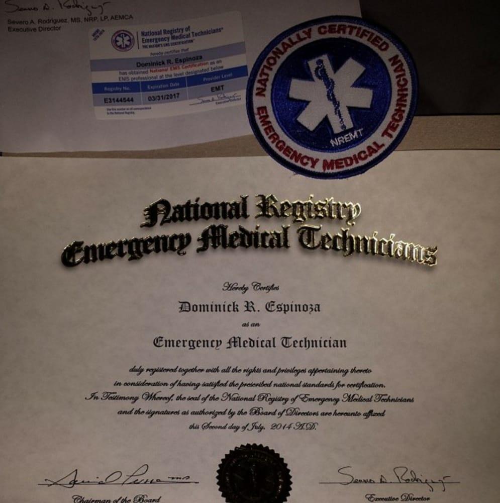 Emt Basic Certification Card