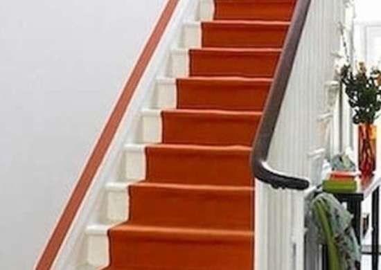 Painted Stairs 10 Home Design Inspirations Bob Vila   Burnt Orange Stair Carpet   Overstock   Rubber Backed   Oriental   Orange Area Rug   Wayfair