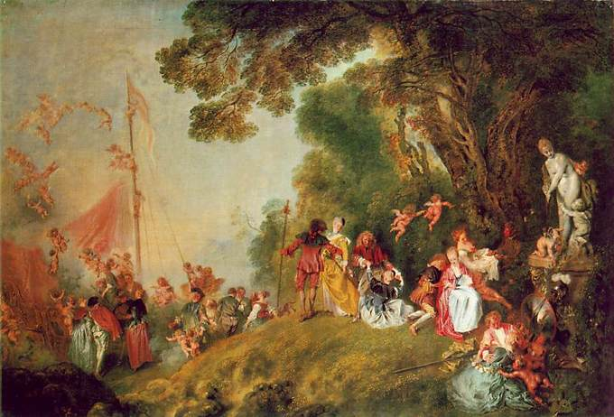 Rococo   Boundless Art History The painting portrays an amorous celebration or party in an outdoor  setting  There are many