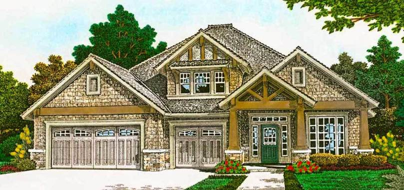 3 Bed Craftsman House Plan with Split Bedroom Layout   48575FM     3 Bed Craftsman House Plan with Split Bedroom Layout   48575FM   01