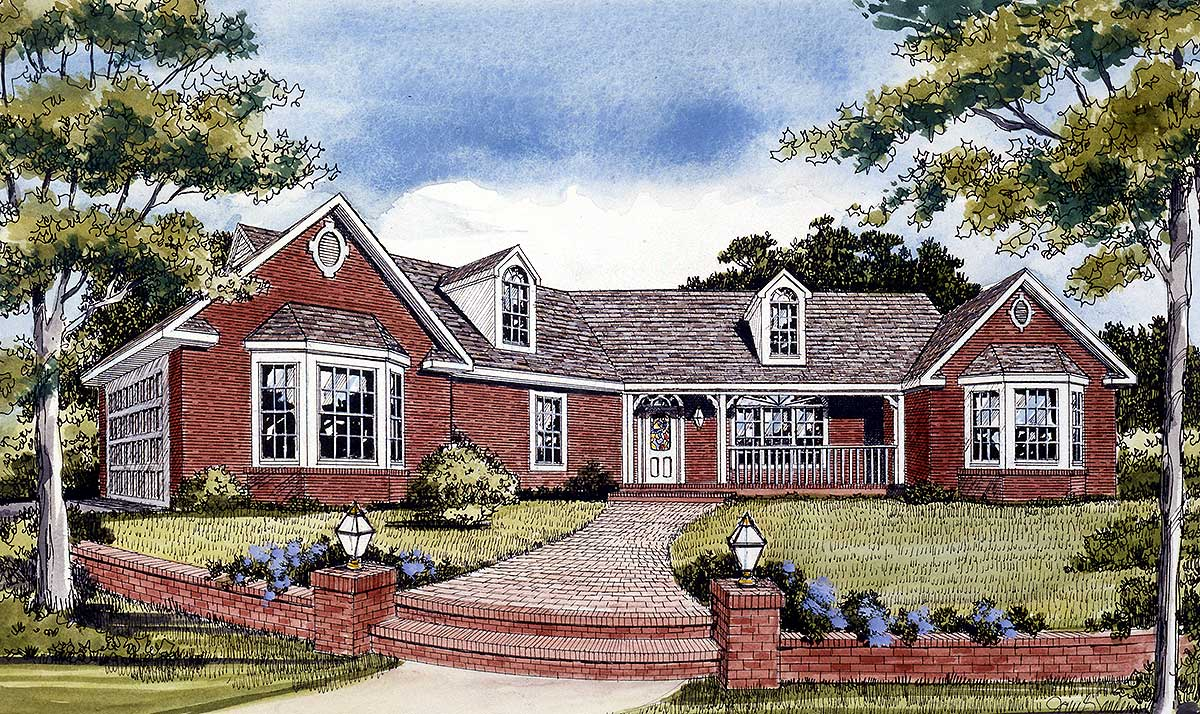 Angled Country Ranch - 3823JA | Architectural Designs ...
