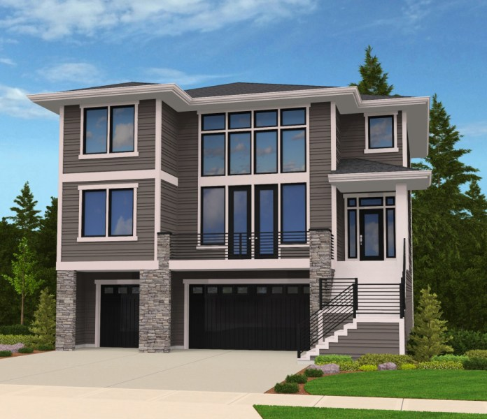 Modern House Plan for Front Sloping Lot   85102MS   Architectural     Modern House Plan for Front Sloping Lot   85102MS